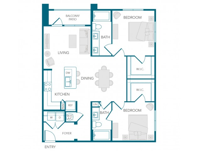 Stone Loch Apartments- B1C Floor Plan