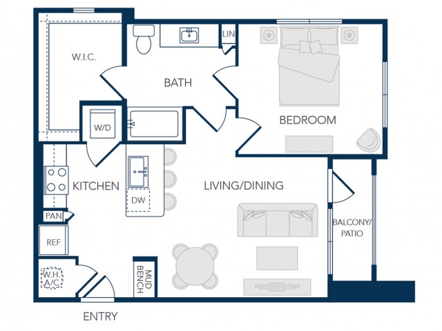 The Rosemary Apartments- A0A Floor Plan