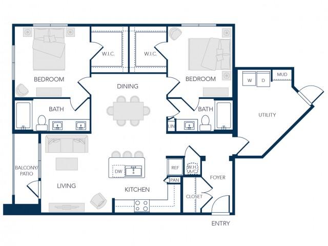 The Rosemary Apartments- B1B Floor Plan