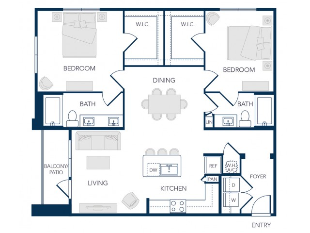 The Rosemary Apartments- B1 Floor Plan
