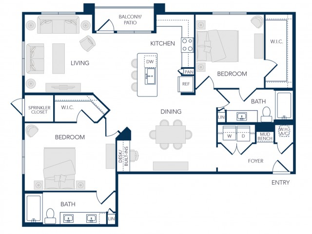 The Rosemary Apartments- B3B Floor Plan