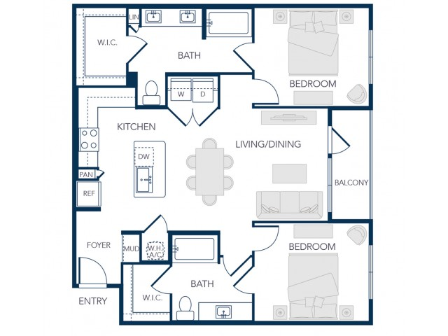 The Rosemary Apartments- B2 Floor Plan