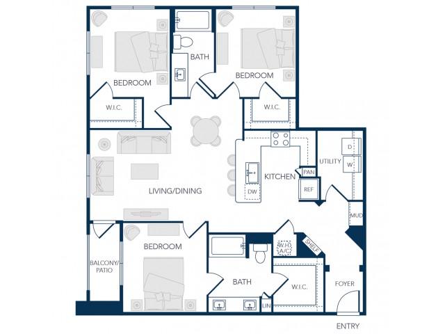 The Rosemary Apartments- C1 Floor Plan
