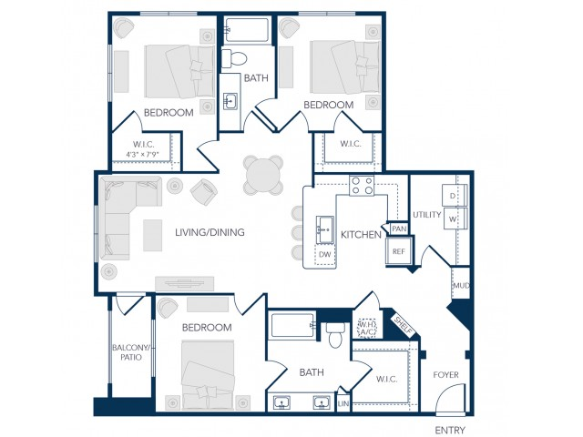 The Rosemary Apartments- C1A Floor Plan