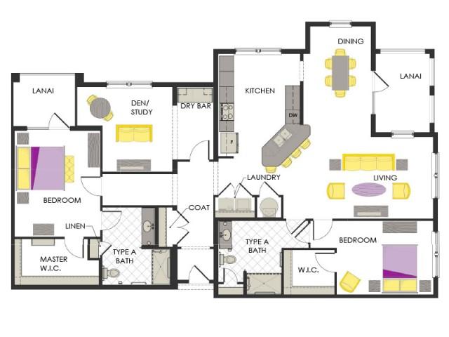 Arcadia Gardens, Palm Beach Gardens FL | Violet Deluxe Floorplan