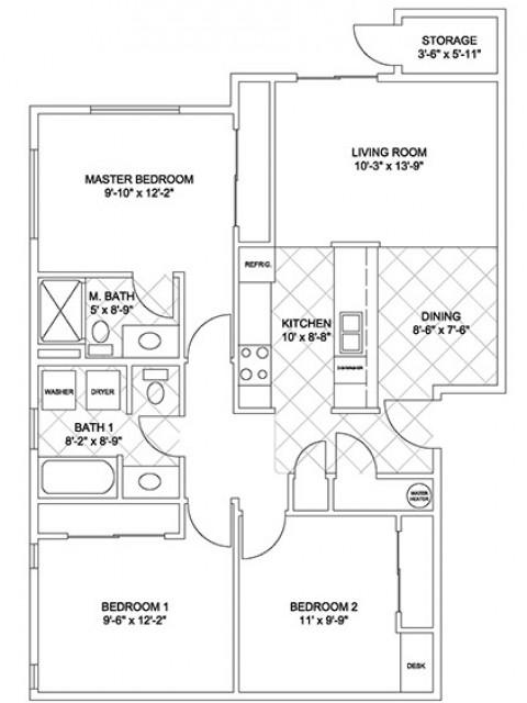 Three Bedroom, Two Bath (Cascade Ridge)