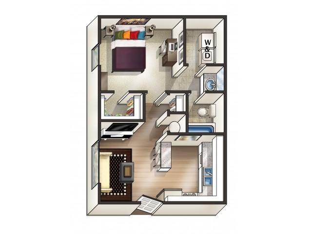 A1 Floor Plan | 1 Bedroom Floor Plan | Eagles West | Apartments Near Auburn University