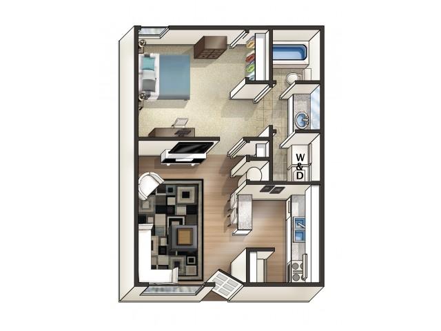 A2 Floor Plan | 1 Bdrm Floor Plan | Eagles West | Student Apartments Auburn AL