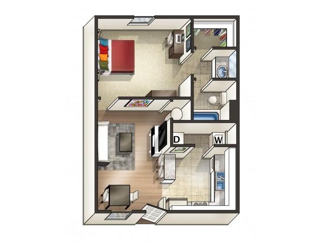 A3 Floor Plan | 1 Bed/1 Bath Floor Plan | Eagles West | Apartments Near Auburn University