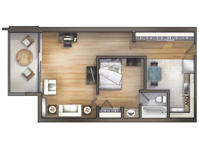A1 Floor Plan   University Apartments - Chapel Hill   1 Bedroom Apartments Chapel Hill