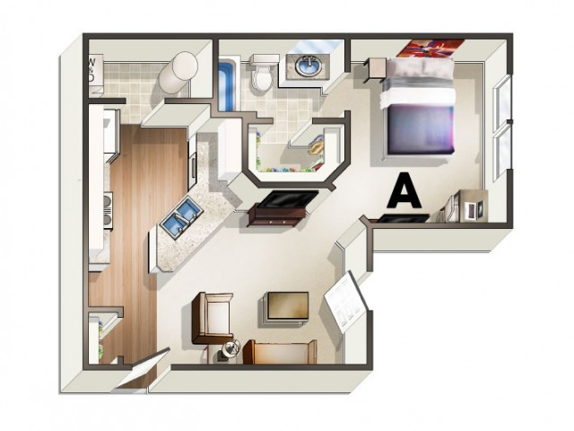 A1 Floor Plan | 1 Bedroom Floor Plan | The Quarters | Lafayette University Apartments for Rent