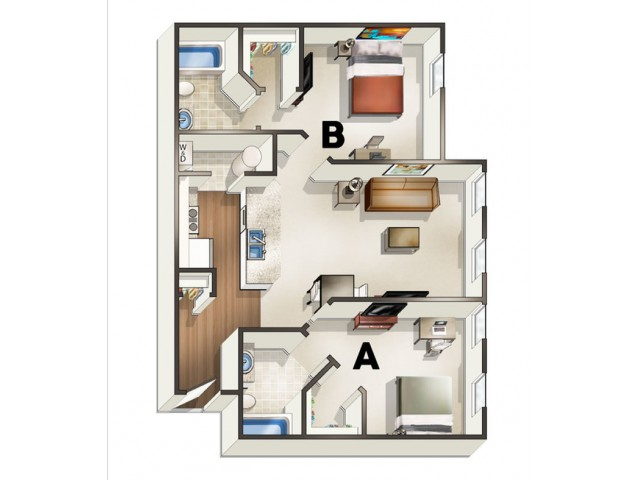 B3 Floor Plan | Floor Plan 3 | The Quarters | Lafayette University Apartments for Rent
