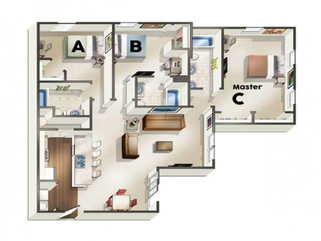 C3 Floor Plan | Floor Plan 3 | The Quarters | Student Housing In Lafayette LA