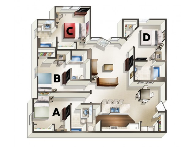 D1 Floor Plan | 4 Bedroom Floor Plan | The Quarters | Lafayette LA Student Apartments