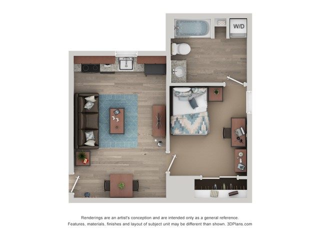 A1 - 1 Bedroom Floor Plan | Flatts at South Campus | Off Campus Apartments Oxford MS