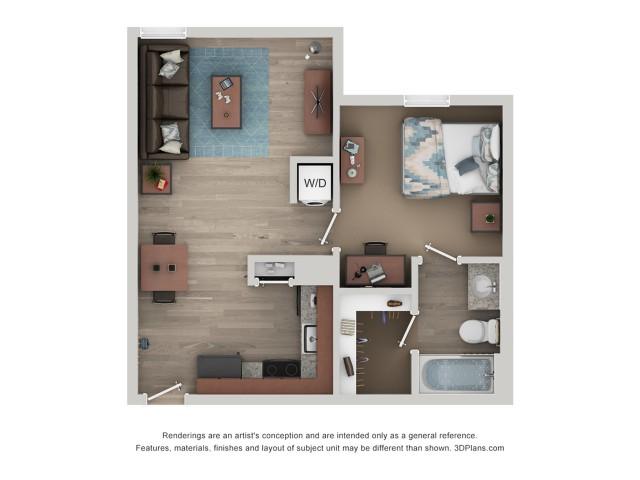 A2 Floor Plan | 1-Bedroom Floor Plan | Flatts at South Campus | 1,  2, 3, & 4 Bedroom Apartments Oxford MS