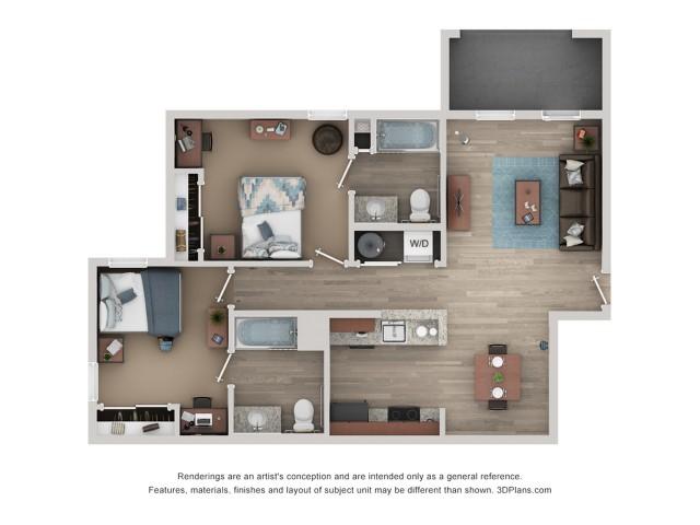 B1 Floor Plan | 2 Bedroom Floor Plan | Flatts at South Campus | 1,  2, 3, & 4 Bedroom Apartments Oxford MS