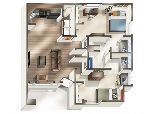 B2 Floor Plan | 2 Bdrm Floor Plan | Hawks Landing | Oxford Ohio Apartments