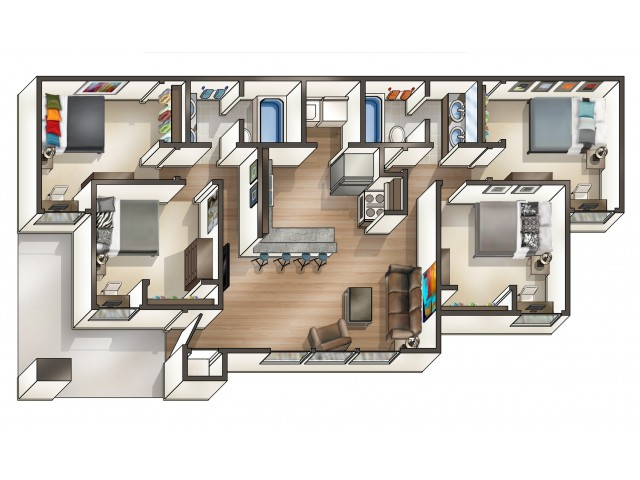 D1 Floor Plan  | 4 Bedroom Floor Plan | Hawks Landing | Miami University Ohio Housing