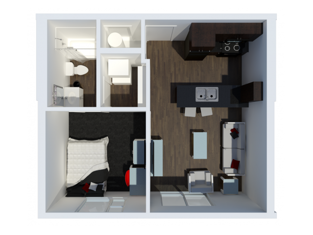 A1 with private balcony | 1 Bdrm Floor Plan | The Cardinal at West Center | Apartments near University Of Arkansas