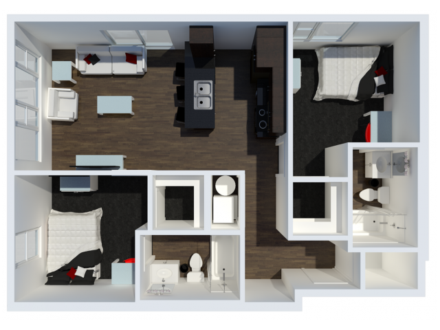 B2 with private balcony | 2 Bdrm Floor Plan | The Cardinal at West Center | Off Campus Apartments near University Of Arkansas