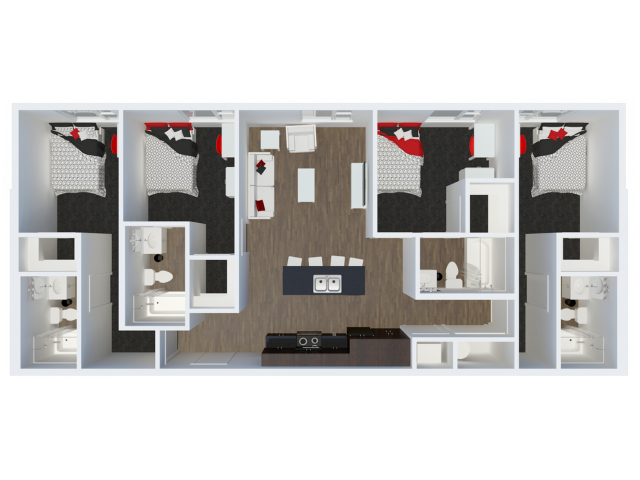 D1B2 with private balcony | 4 Bdrm Floor Plan | The Cardinal at West Center | Apartments near University Of Arkansas