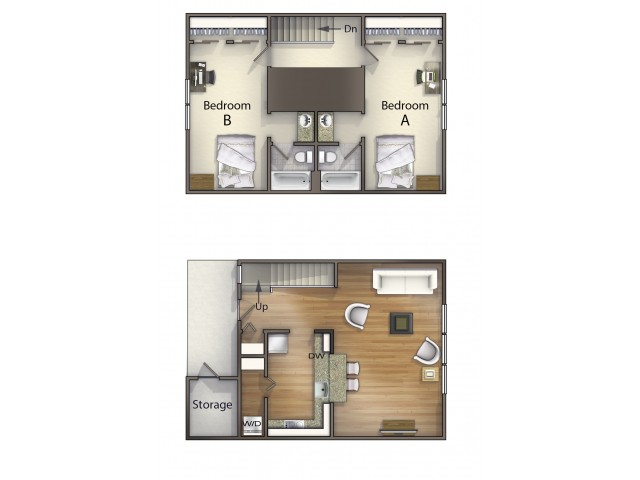 B2 town home layout | 2 Bdrm Floor Plan | The Commons | Apartments in Oxford OH