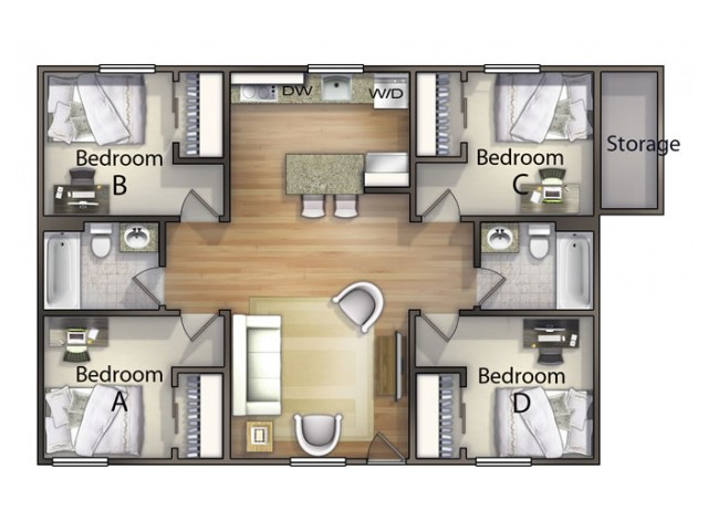 D1 floor plan | 4 Bedroom Floor Plan | The Commons | Student Apartments In Oxford OH