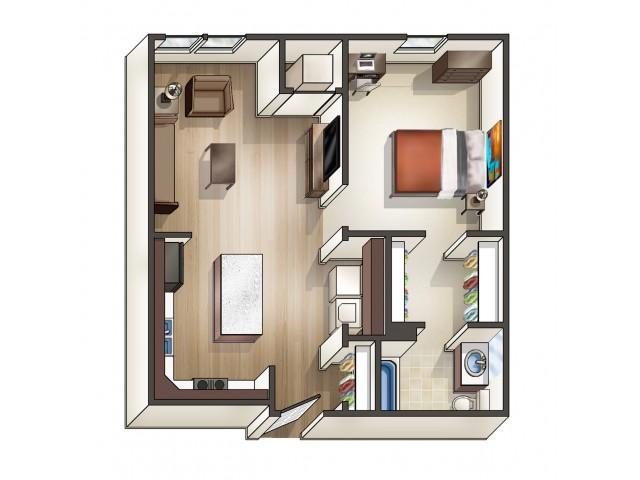A1 floor plan | 1 Bedroom Floor Plan | University Hills | Toledo OH Student Apartments