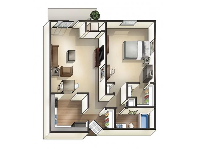 A2 floor plan | 1 Bdrm Floor Plan | University Hills | University Of Toledo Student Apartments