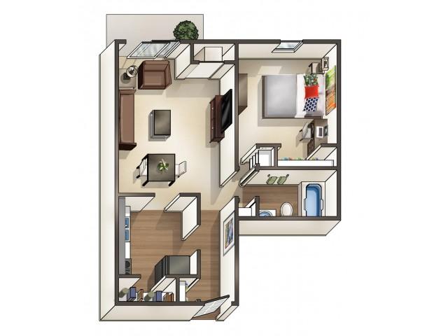 A3 floor plan | 1 Bedroom Floor Plan |  University Hills | University Of Toledo Student Apartments