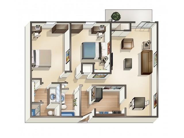 B3 floor plan | 2 Bedroom | University Hills | Apartments Near University Of Toledo