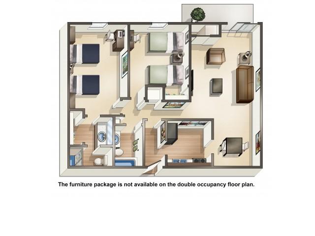 B3DO double occupancy | 2 Bedroom Floor Plan | University Hills | Apartments Toledo Ohio