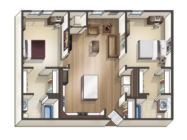 B4 Floor Plan | 2 Bedroom | University Hills | Toledo OH Student Apartments