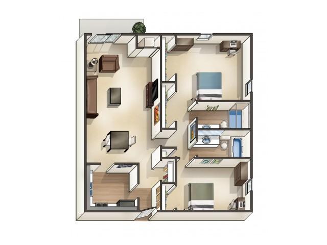 B5 Floor Plan | 2 Bedroom | University Hills | University Of Toledo Student Apartments
