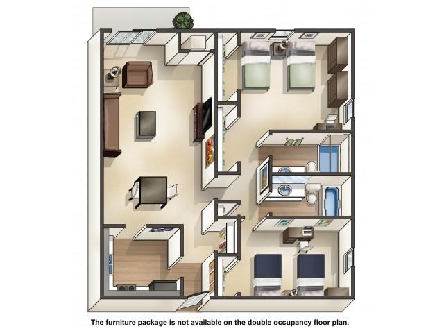 B5DO double occupancy | 2 Bedroom Floor Plan | University Hills | University Of Toledo Student Apartments