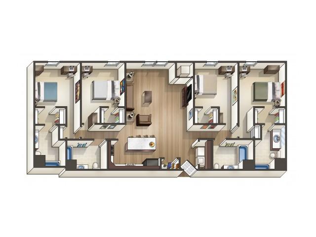 D1 floor plan | 4 Bedroom | University Hills | Apartments Near University Of Toledo