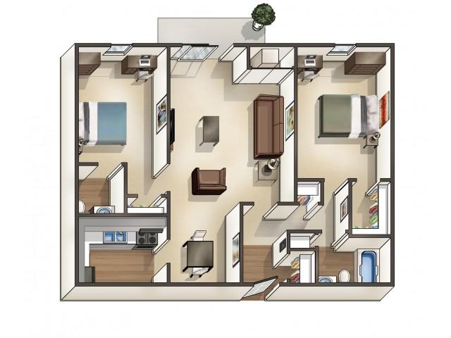 B2 Floor Plan | University Apartments Durham | Apartments Near Duke University