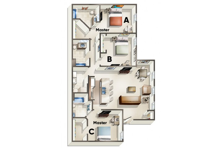 C2 Floor Plan | 3 Bdrm Floor Plan | The Quarters | Lafayette University Apartments for Rent