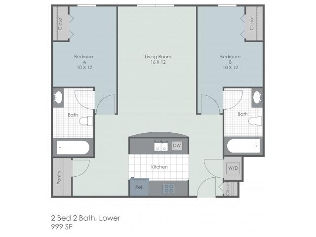 2x2 Bed Lower Floor Plan | 22 Exchange | Apartments Near University Of Akron