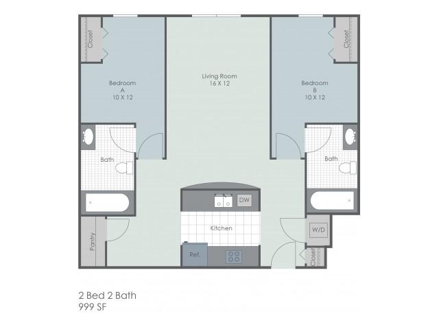 2x2 Bedroom 22 Exchange | Akron Apartments