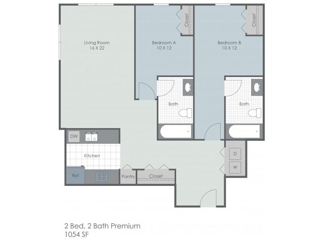 2x2 Bedroom Premium | 22 Exchange | Apartments Near University Of Akron