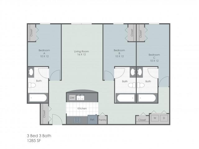 3x3 Bedroom | 22 Exchange | University Of Akron Off-Campus Housing