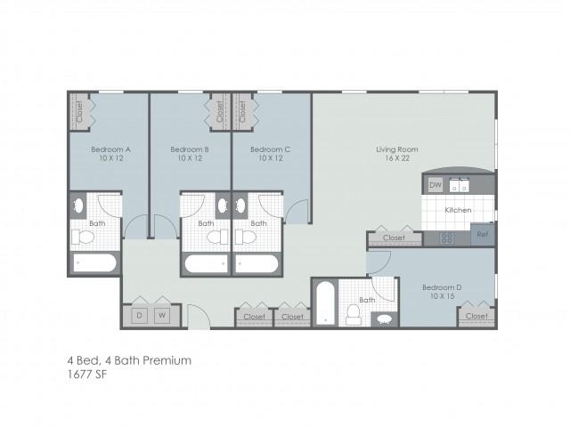 4x4 Bedroom Lower Premium