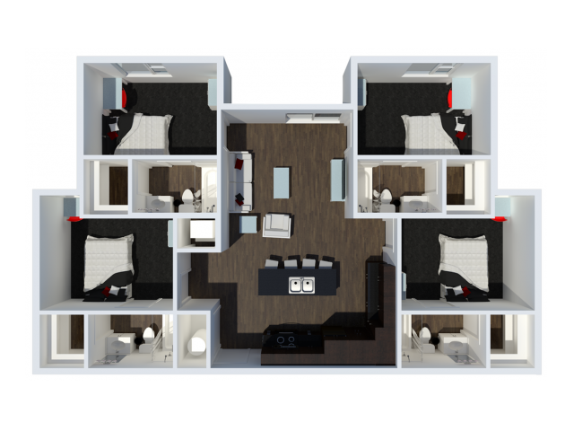 B2B1 | 4 Bdrm Floor Plan | The Cardinal at West Center | Fayetteville AR Apartments