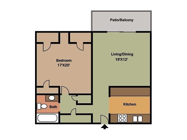 Hillcrest 90 1 Bedroom floor plan