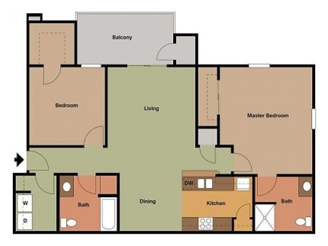 Embassy Ozark 2 bedroom, 2 bathroom floor plan