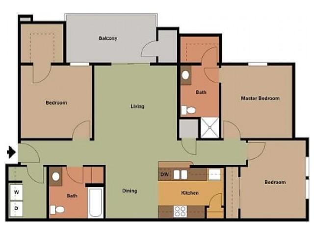 Embassy Ozark 3 bedroom, 2 bathroom floor plan