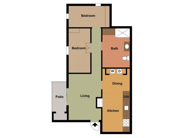 2 Bedroom, 1 Bathroom Floor Plan Embassy Ozark 2D
