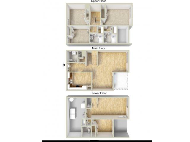 Three bedroom townhome floor plan